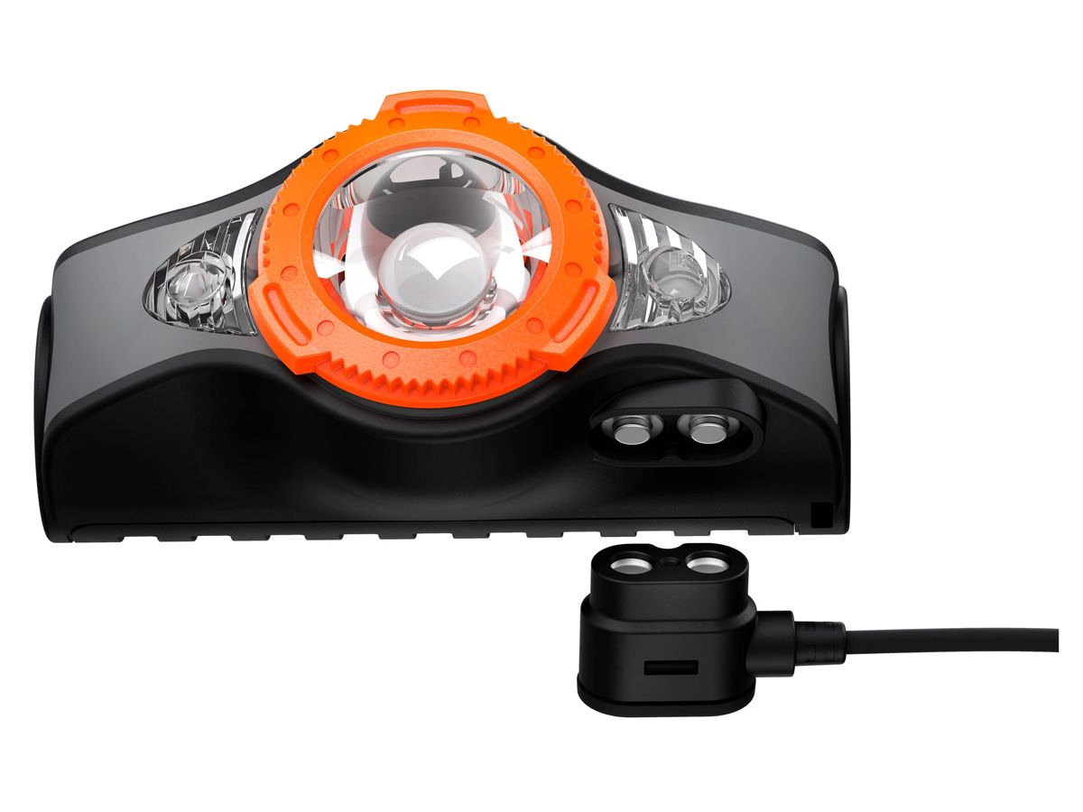 Ledlenser MH11 headlamp in blue side profile