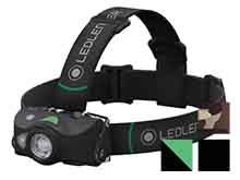 Ledlenser MH8 Rechargeable LED Headlamp - Xtreme Multi-Color LED - 600 Lumens - Includes Li-ion Battery Pack - Black with Green Button (880445), Green with Black Button (880439), Black with Black Button (880556), or Camo with Beige Button (880557)