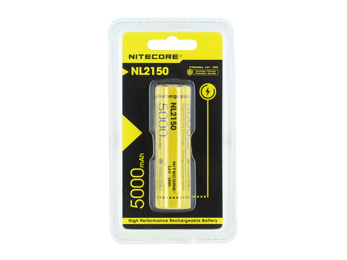 Nitecore NL2150 21700 battery back of the retail blister card
