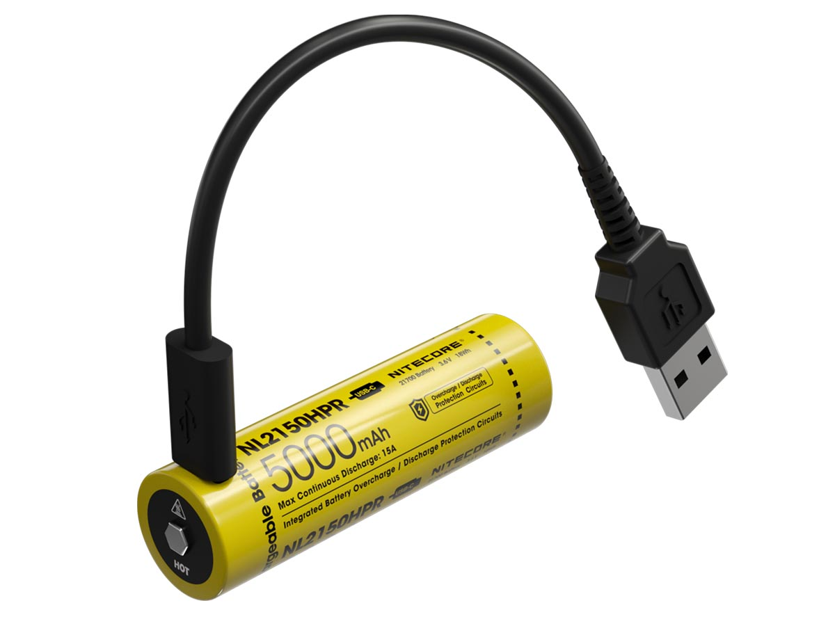 Nitecore NL2150HPR with USB-C cable