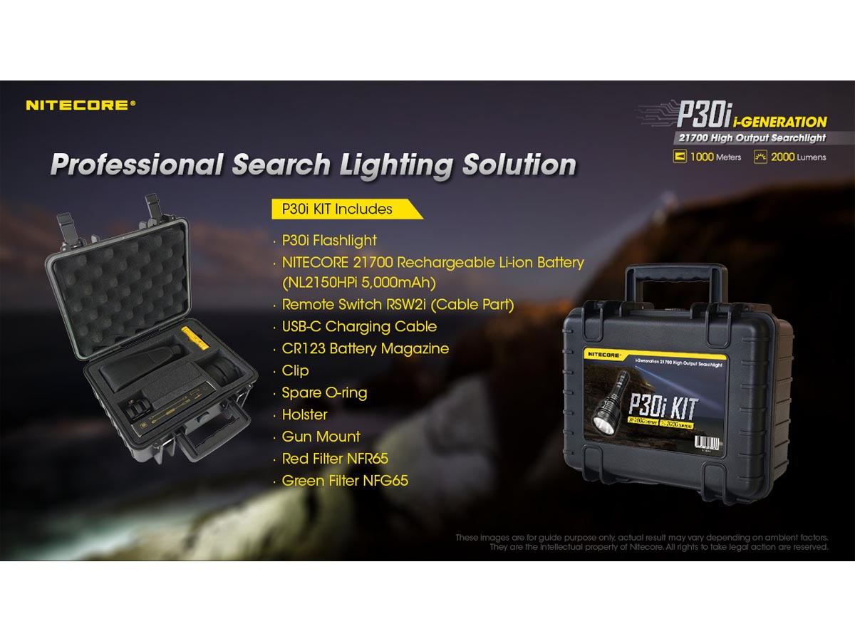 Nitecore P30i Searchlight - Slide of Kit Contents and Accessories