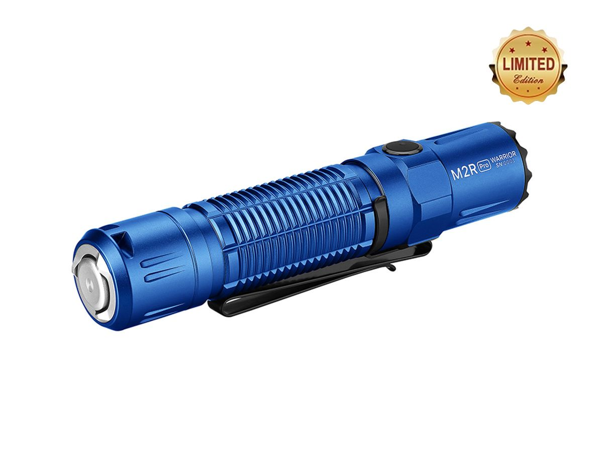 olight m2r pro blue angled showing tailcap