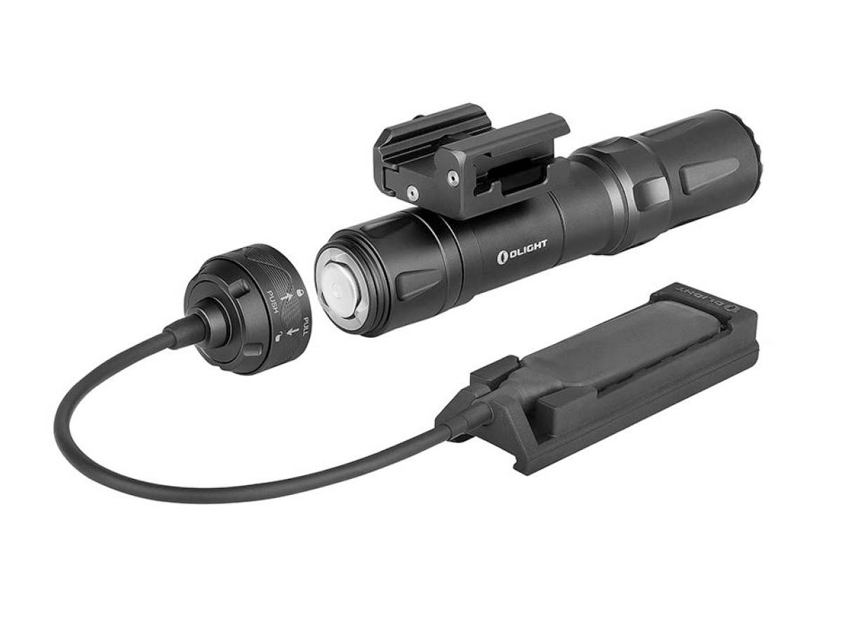 Olight Odin Tactical Weapon Mounted Flashlight in Black with Remote Pressure Switch (Detached)
