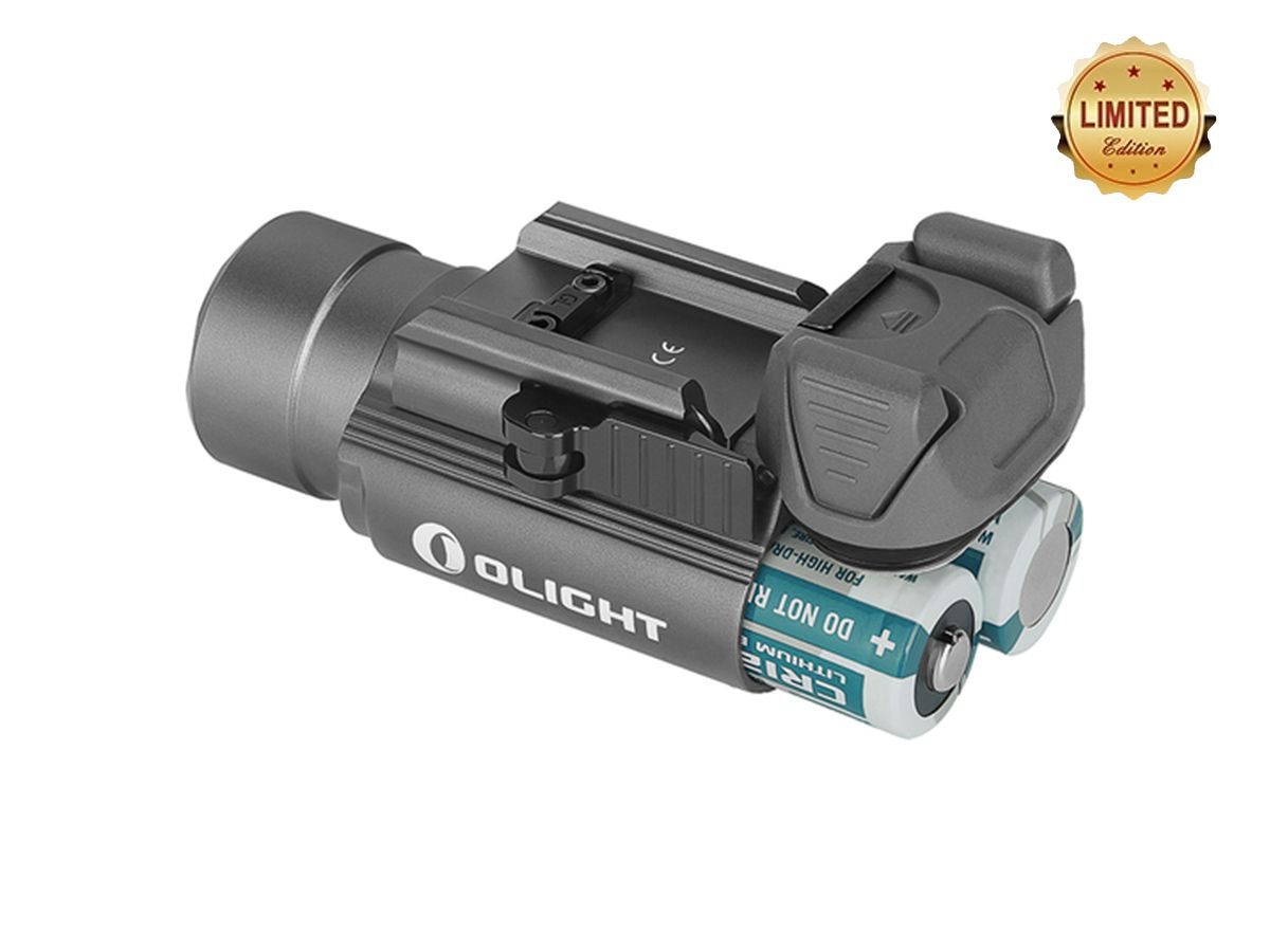 olight pl 2 valkyrie grey angled with included batteries showing