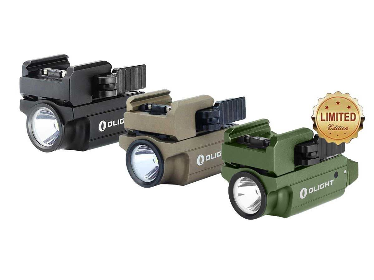 Olight PL MINI 2 Valkyrie 2 LED Pistol Light Black, Desert Tan, and Grey Limited Edition Colors