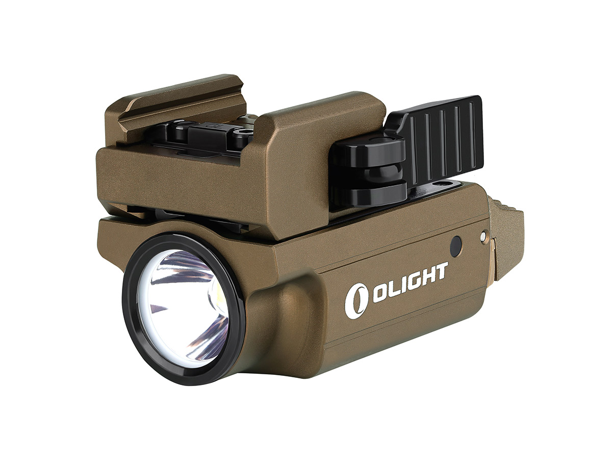 olight pl mini 2 valkyrie tan angled to the left