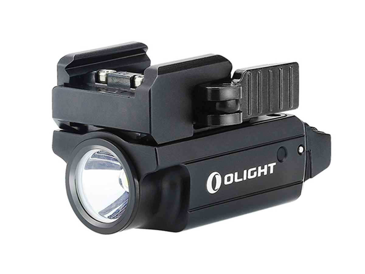 olight pl mini 2 valkyrie black angled to the left