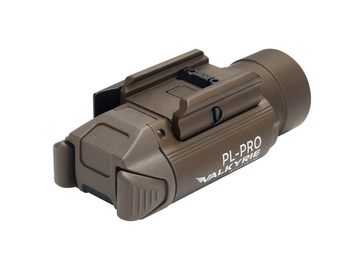 Olight PL PRO tan angled with tail switches showing