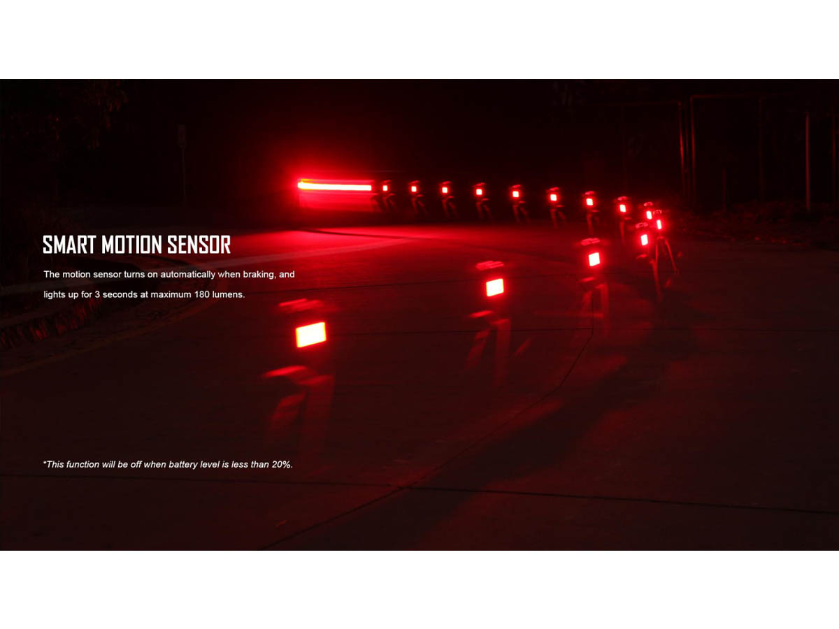 Olight RN 180 TL Bike Tail Signal Light - Slide - Smart Motion Sensor