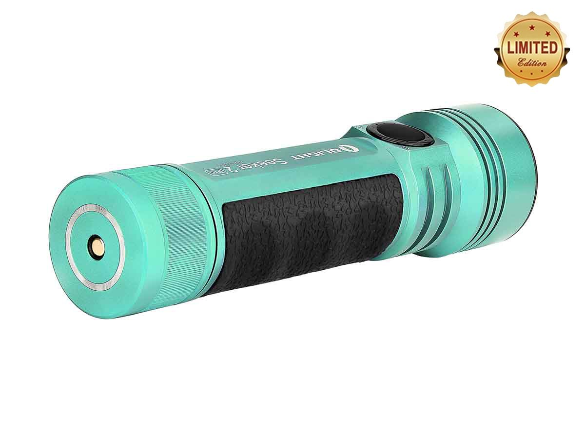 olight seeker 2 pro green angled showing tailcap