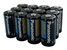 Panasonic CR123A 1550mAh 3V Lithium (LiMnO2) Button Top Photo Battery - Box of 12