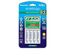 Panasonic Eneloop 4-Position Quick Charger with 4 x 800mAh NiMH Low Self Discharge AAA Batteries (K-KJ55M3A4BA)