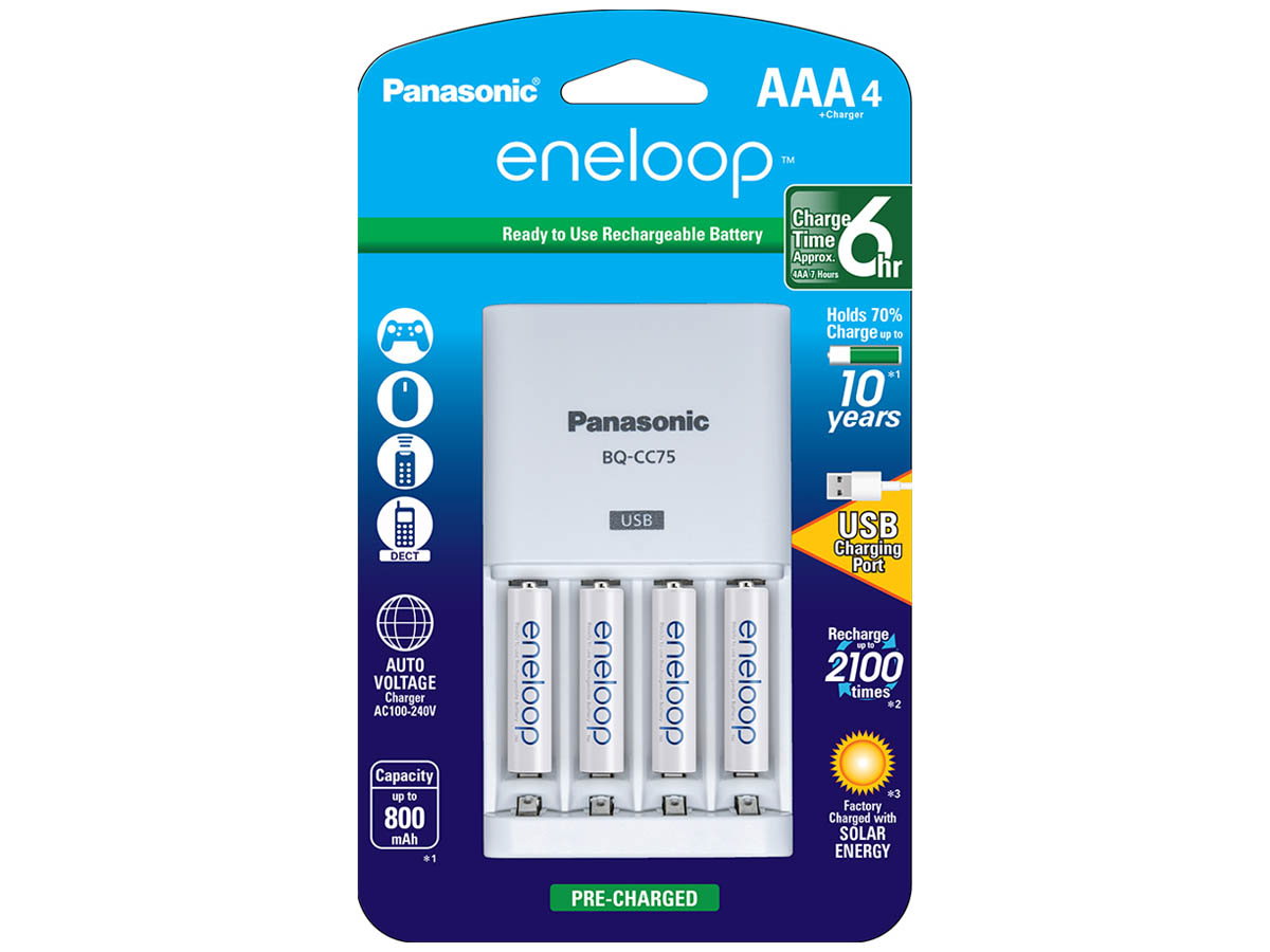 Panasonic Eneloop Advanced Charger with 4 x 800mAh NiMH Low Self Discharge AAA Batteries (K-KJ75M3A4BA) Packaging Front