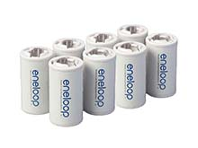 Panasonic Eneloop C Cell Spacer AA Battery Converters - 8 Pack