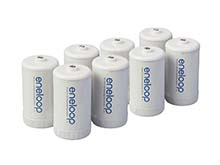 Panasonic Eneloop D Cell Spacer AA Battery Converters - 8 Pack