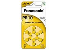 Panasonic PR10 (6PK) Size 10 75mAh 1.4V Zinc Air Hearing Aid Batteries - 6 Pack Retail Card