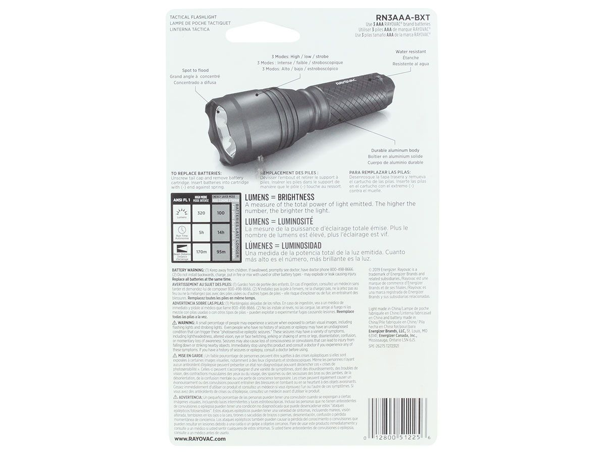 rayovac tactical flashlight package back