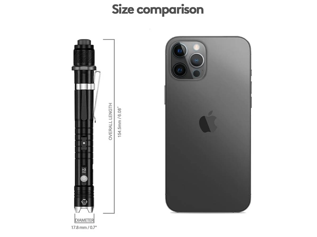 Hybrid H3 Pro compared to an iPhone 12