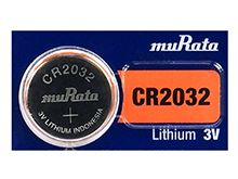 Murata CR2032 Lithium (LiMnO2) Coin Cell Watch Battery - 3V 220mAh - 1 Piece Tear Strip, Sold Individually