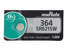 Murata SR621SW 364 23mAh 1.55V Silver Oxide Watch Battery - 1 Piece Tear Strip, Sold Individually
