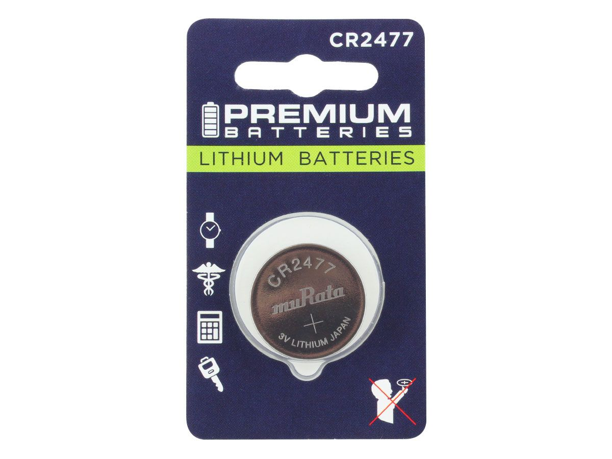 Murata CR2477 coin cell 1 piece retail card (front)