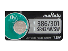 Murata (formerly Sony) SR43W 386 120mAh 1.55V Silver Oxide Watch Battery - 1 Piece Tear Strip, Sold Individually