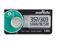 Murata (formerly Sony) SR44W 357 303 160mAh 1.55V Silver Oxide Watch Battery - 1 Piece Tear Strip, Sold Individually