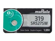 Murata SR527SW (formerly Sony) 319 22.5mAh 1.55V Silver Oxide Watch Battery - 1 Piece Tear Strip, Sold Individually