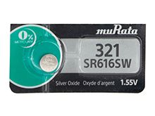 Murata SR616SW 321 (formerly Sony) 16mAh 1.55V Silver Oxide Watch Battery - 1 Piece Tear Strip, Sold Individually