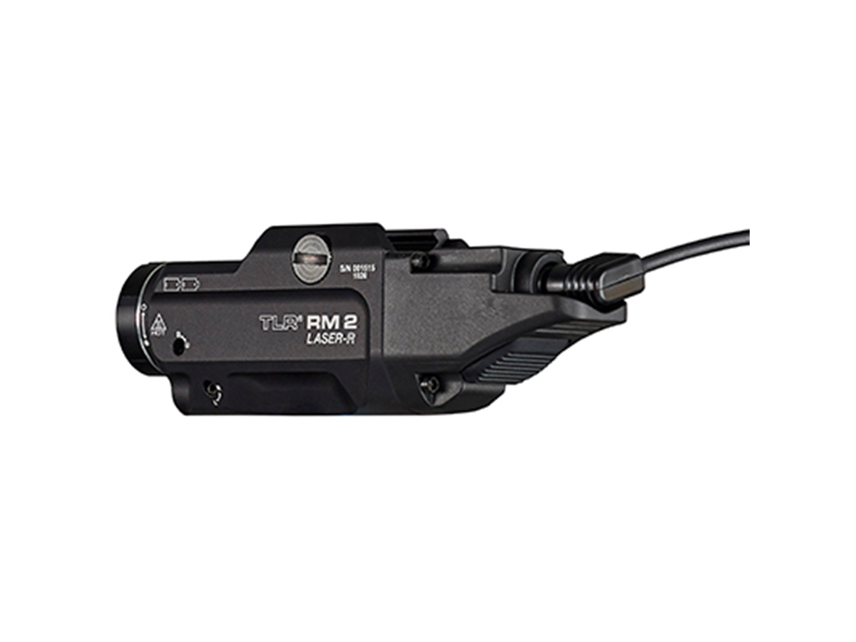 streamlight tlr rm2 with laser from behind with remote pressure switch plugged in