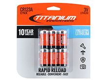 Titanium Innovations CR123A (12PK) 1600mAh 3V 3A Lithium Primary (LiMN02) Button Top Photo Batteries, 2 Pack Rapid Reload Shrink - 12-Pack Retail Card
