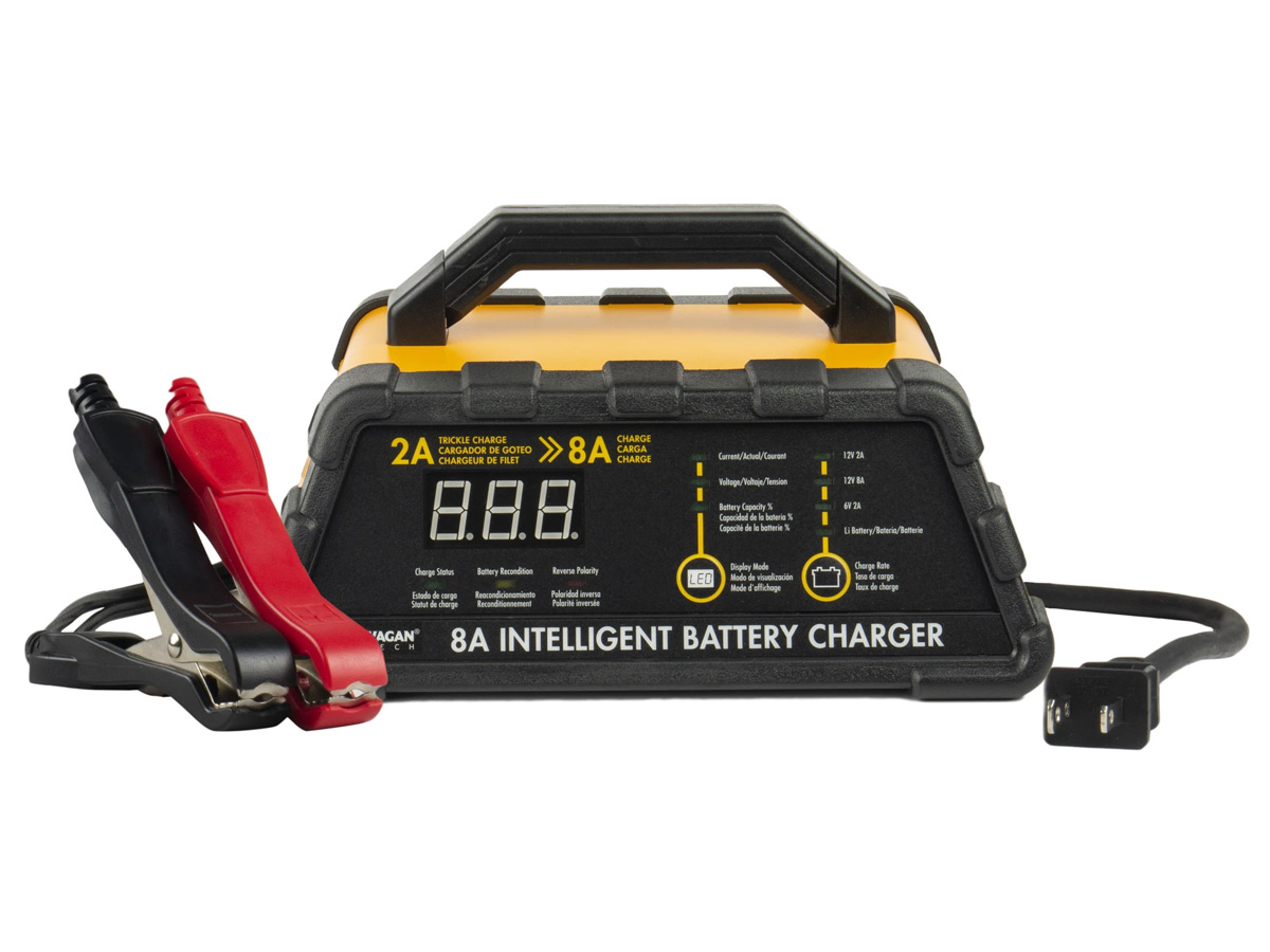wagan 8a battery charger straight on with wires and clamps