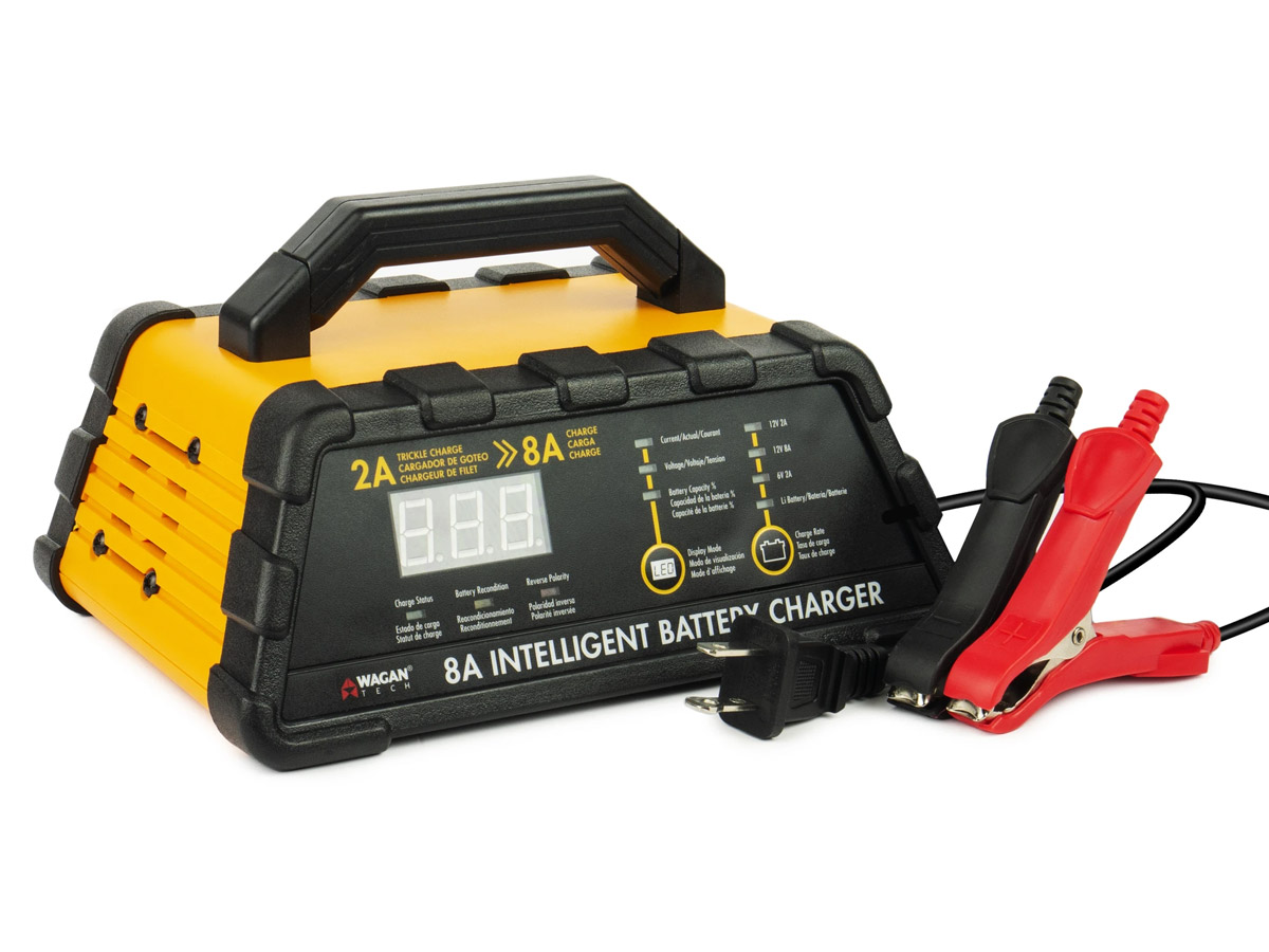 wagan 8a battery charger with cords and clamps at an angle