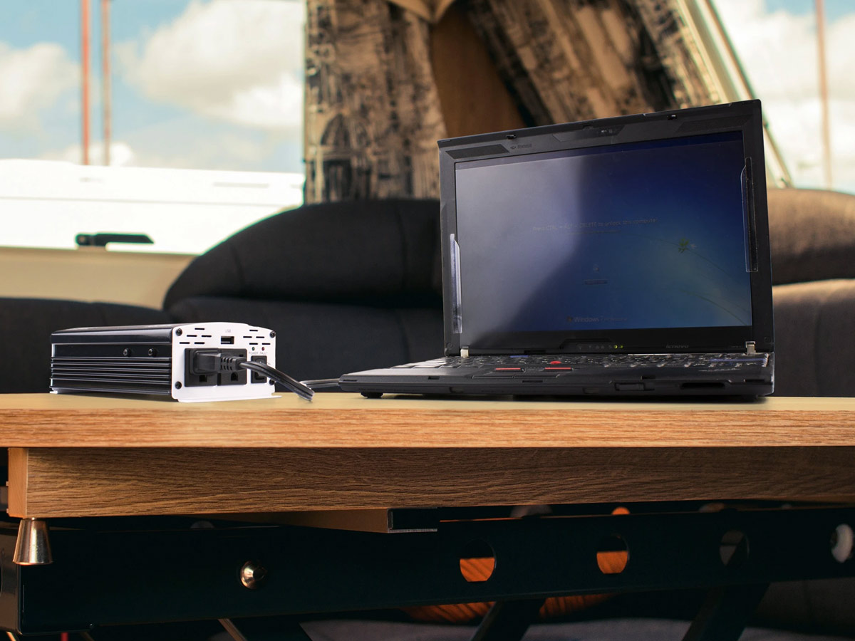 wagan slimline 500w inverter in use with laptop in an RV