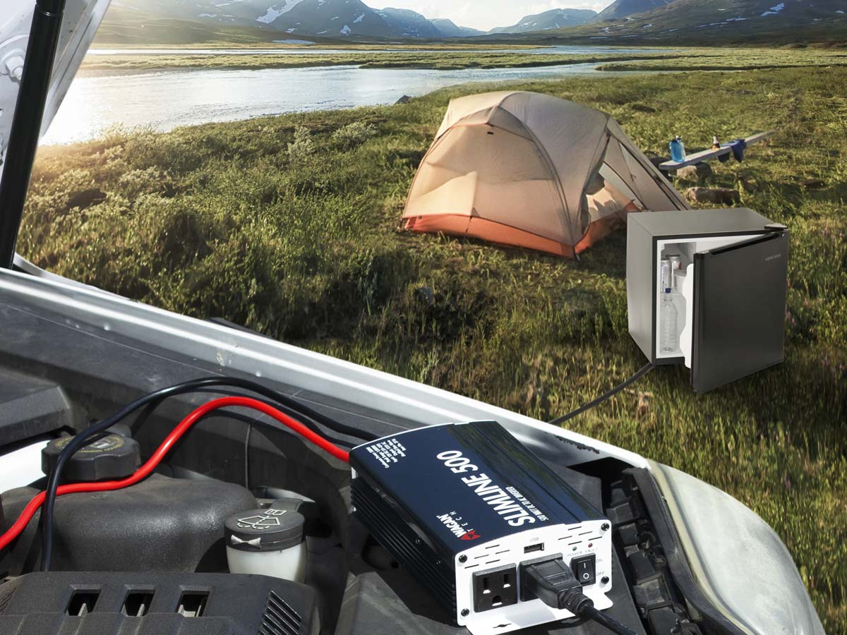 wagan slimline 500w inverter being used at a campsite