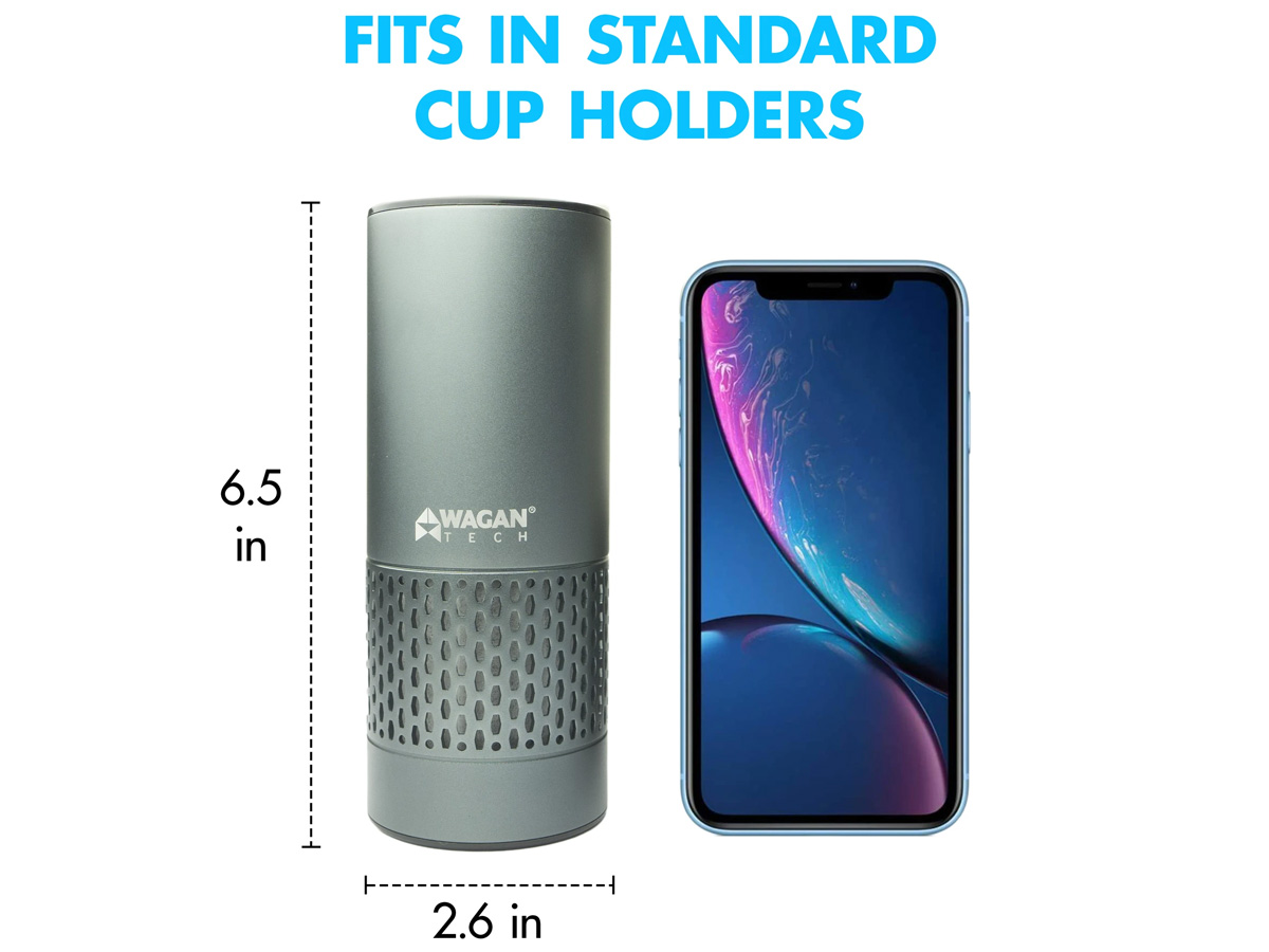 wagan usb air purifier size comparison to phone