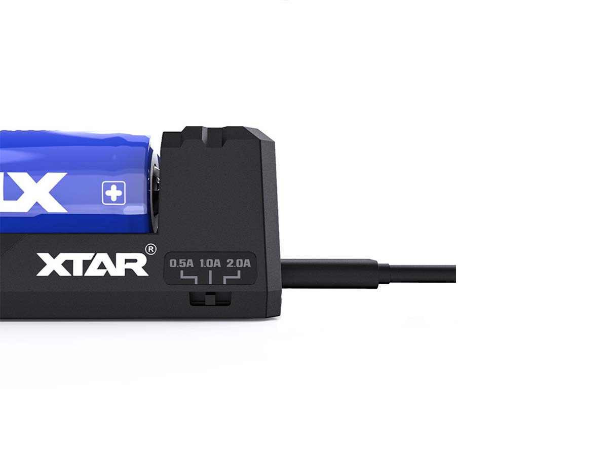 XTAR FC2 2-Bay Smart Battery Charger - Manual Switch for Charging Current