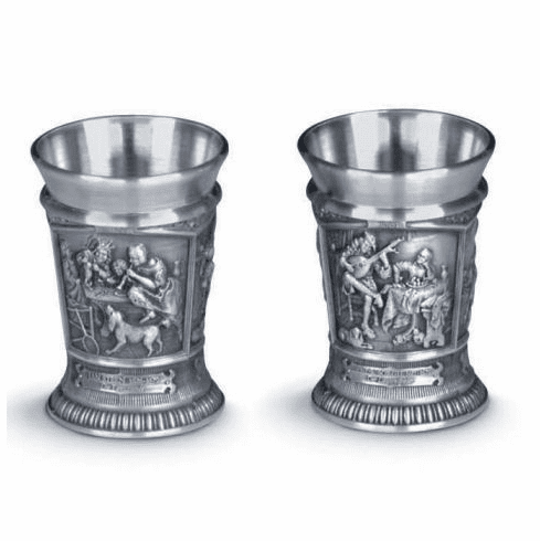 Artina Pewter Meisterwerke Shot Cups - 2pc - 1.5oz