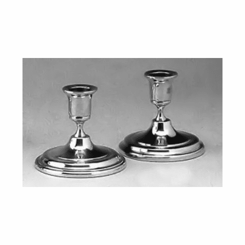 Boardman Pewter Candlesticks - Low Console Small Rim - 3 in. - Pair