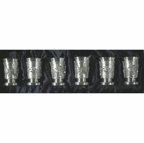Eagle Pewter Shot Cups 'Equestrian' - 6 pc - 1oz