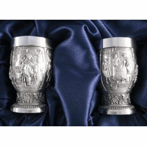 Eagle Pewter Shot Cups 'Grapes' - 2 pc - 1oz