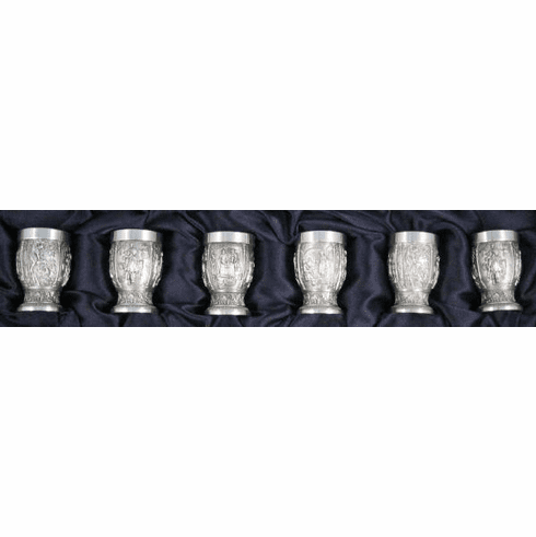 Eagle Pewter Shot Cups 'Grapes' - 6 pc - 1oz