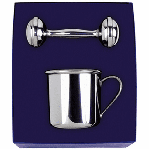 Salisbury Pewter Baby Cup and Rattle Gift Set