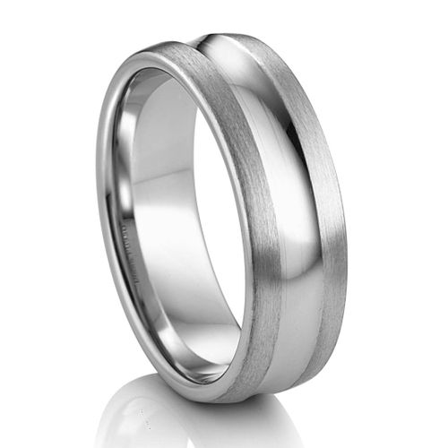 Concaved Groove Palladium Wedding Band by Diana Classic®
