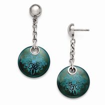 Edward Mirell Black Ti Anodized Teal and Sterling Silver Drop Earrings