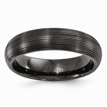 Edward Mirell Titanium Black Ti Domed Textured Lines 6mm Band