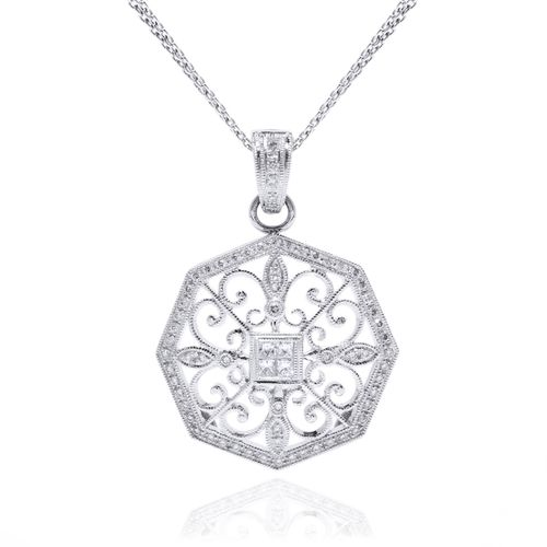 Ladies 18K White Gold Diamond Necklace by Beverley K