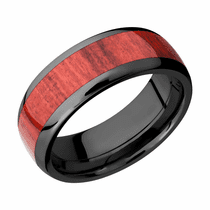 Red Heart Harwood and Black Zirconium Ring by Lashbrook Designs