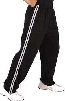 New- Crazee Wear Stripe Relaxed Fit Pants- Black with White Stripes