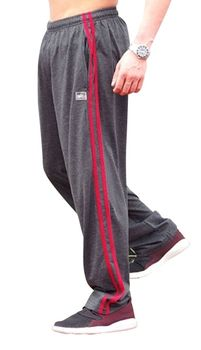 New- Crazee Wear Stripe Relaxed Fit Pants- Charcoal Grey w/ Red Stripes